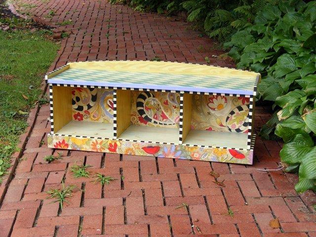 14: Botanical & Graphic Motif Storage Bench by Linda Ly