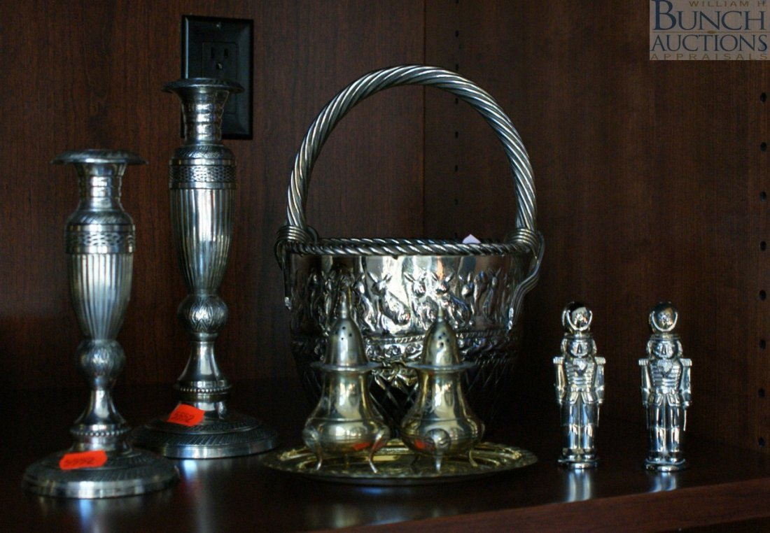 2: Group of silver plated objects including two candle