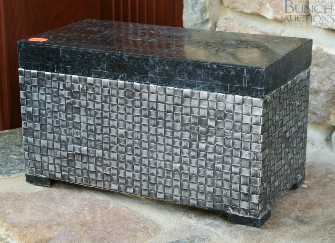 """5: Metal and faux stone storage box 14"""" wide"""