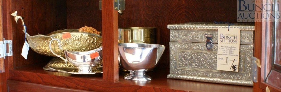 11: Five piece metal lot, Persian style brass planter,