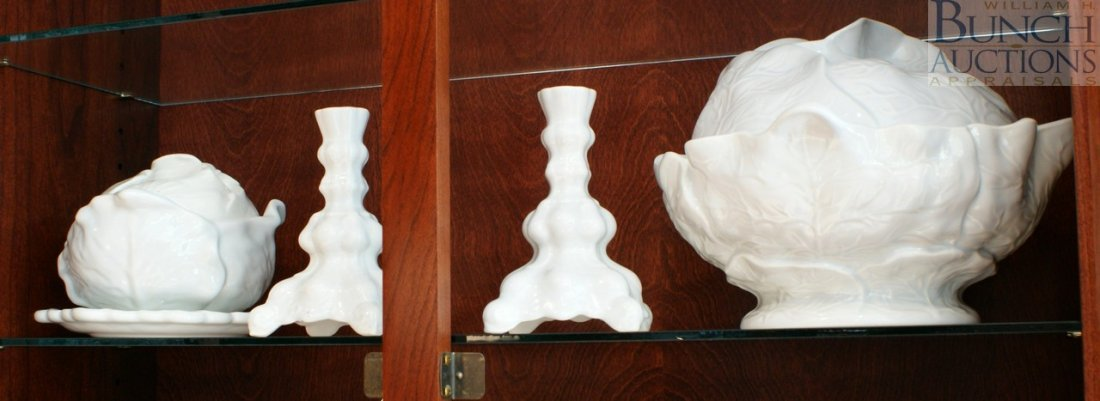 12: Four piece white ceramic lot including two cabbage