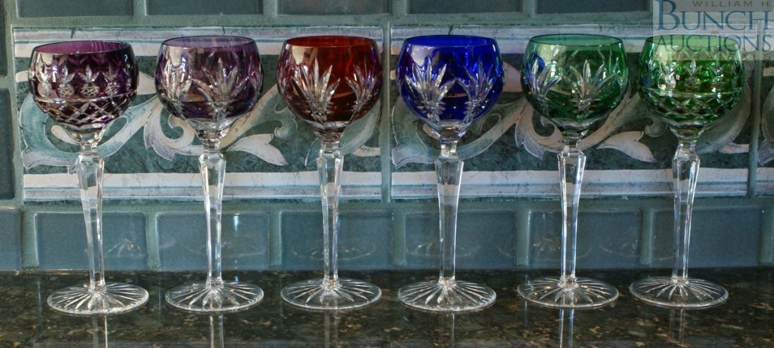 13: Set of 6 bohemian cut to clear wine glasses in ruby