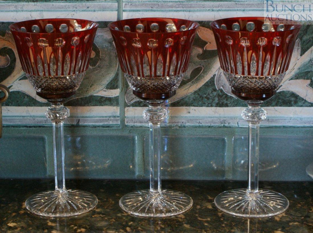 14: Three ruby cut to clear wine glasses
