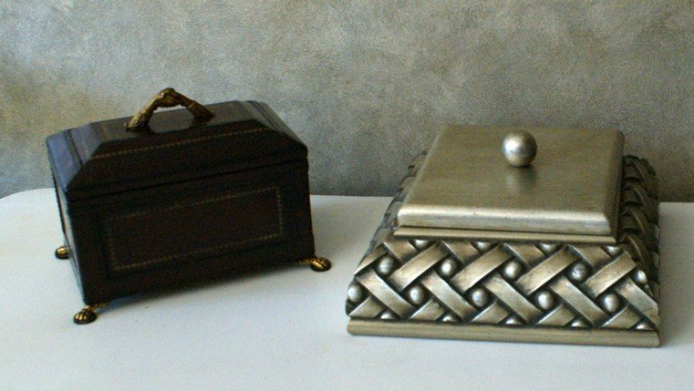 20: Leather covered storage box with papered interior