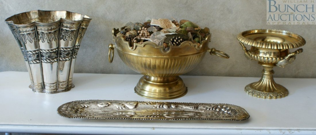 22: Four piece metal lot including brass handled bowl,