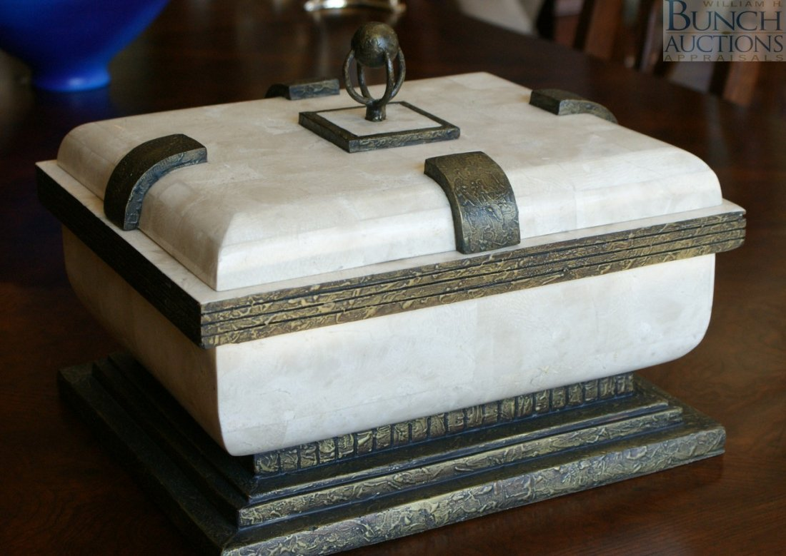 """26: Gilt and ivory finished faux stone covered box, 14"""""""