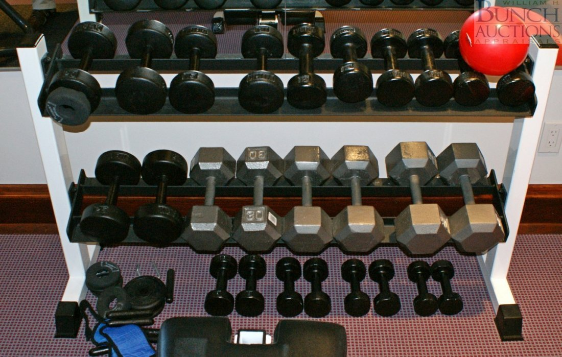 308: Tuff Stuff weight bench with rack and sets of weig - 2