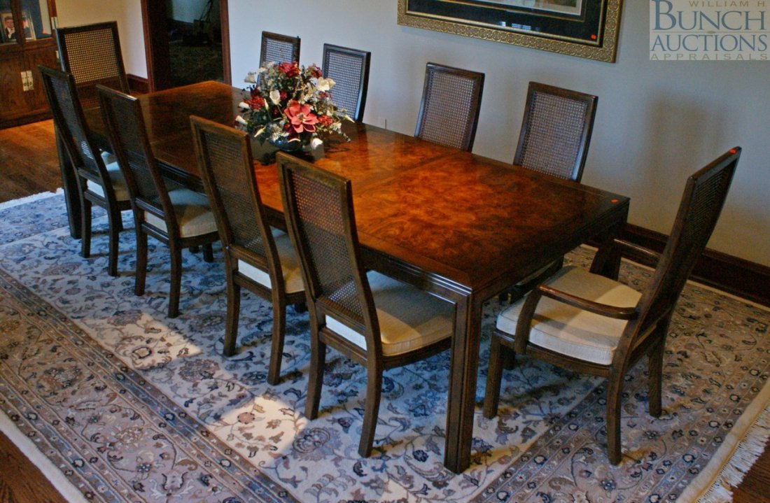 asian dining room chairs | 583: Henredon Asian style dining room table with 10 cha