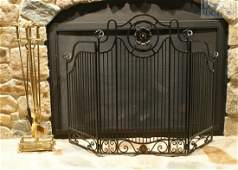 629 Wrought iron folding fire screen with a set of bra