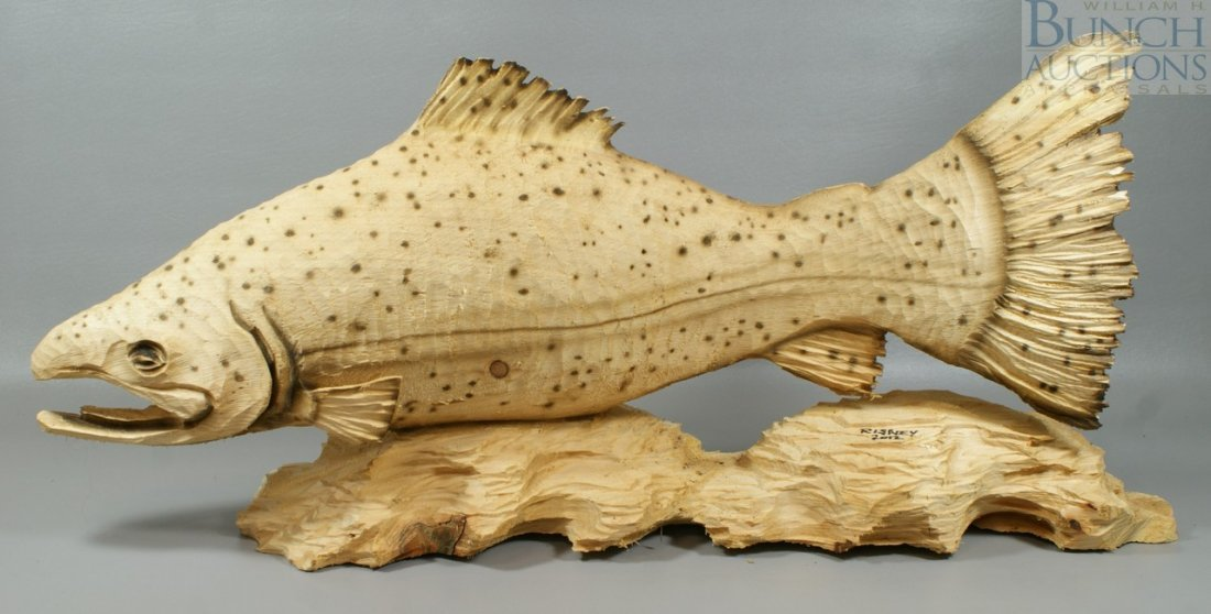"""499C: Ben Risney, Chainsaw Carved Fish, signed """"Risney"""