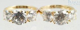 12001: (2) 14K YG cubic zirconia ladies rings, size 5,