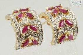 12002: Pr 14K YG spinel and diamond earrings, 3.0 dwt