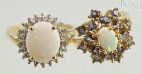12003: (2) 14K YG opal rings, 1 w/22 small 2 pt +/- dia