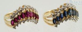 12005: (2) 14K YG V shaped ladies rings, one with rubie