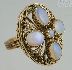 14K YG Ladies Ring With 5 Opals, Size 6 3/4, 7.0