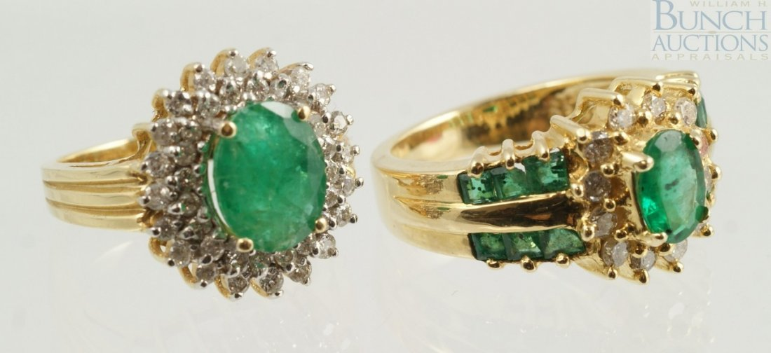 12009: (2) 14K YG emerald and diamond rings, one w/10 x