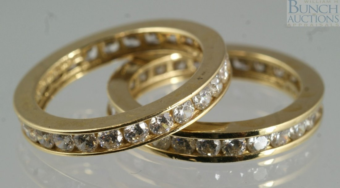 12011: (2) 14K YG eternity bands set with CZ, size 5, 3