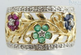 12013: 14K YG ring with tourmaline, spinel, and small d