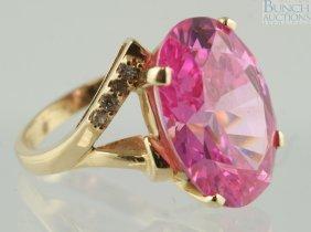 12014: 14K YG pink tourmaline ladies ring, 18 x 14mm st