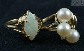 12017: (2) 14K YG kadies rings, marquis opal and 3 ston