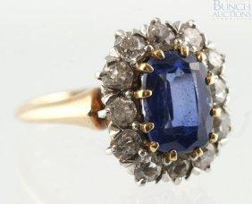 12019: 14K YG diamond & sapphire ladies ring, 8 x 6 mm
