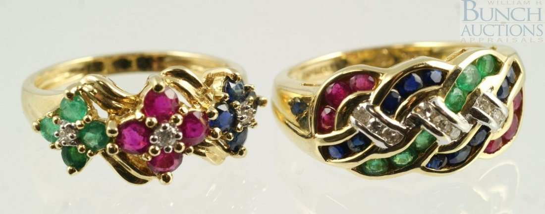 12020: (2) 14K YG ladies rings with green, red, blue st