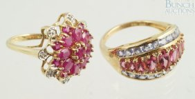 12021: (2) 14K YG ladies rings, one with ruby flower to