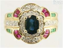 12072 14K YG diamond emerald ruby and sapphire ring