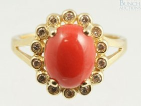 12073: 14K YG diamond and and coral ring, size 6 1/4, 2
