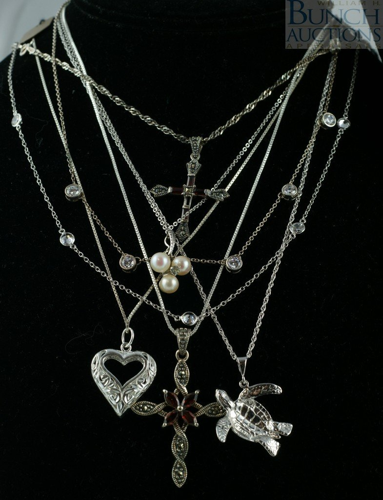 12121: 14 sterling silver necklaces, chains, pendants,  - 2