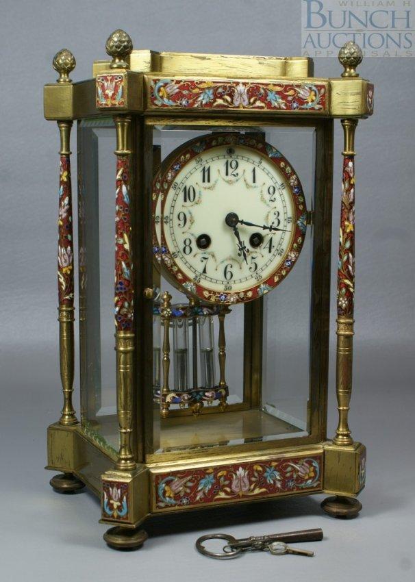 12507: French Samuel Marti brass & crystal regulator, w