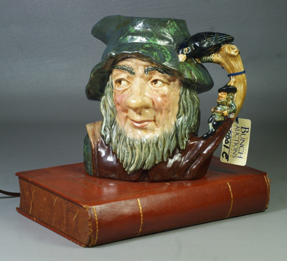 8001E: Royal Doulton Rip Van Winkle lamp, toby jug sitt