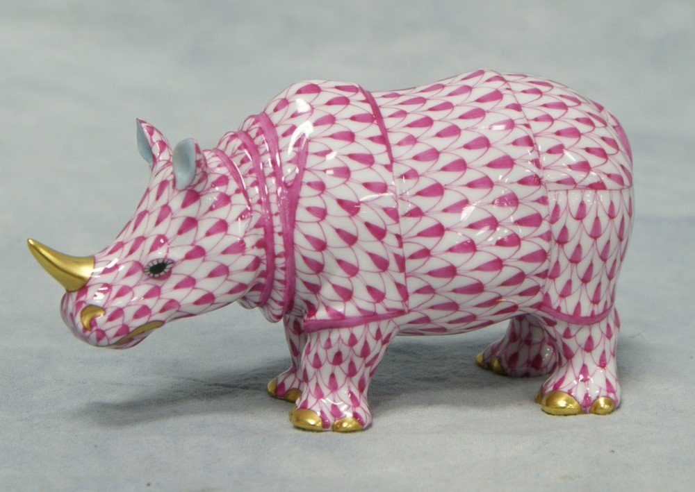 "8148: Herend Pink Fishnet Rhinoceros figurine, 2 3/4"" t"