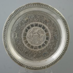 Indian Silver Circular Tray With Mythical Bird Ce