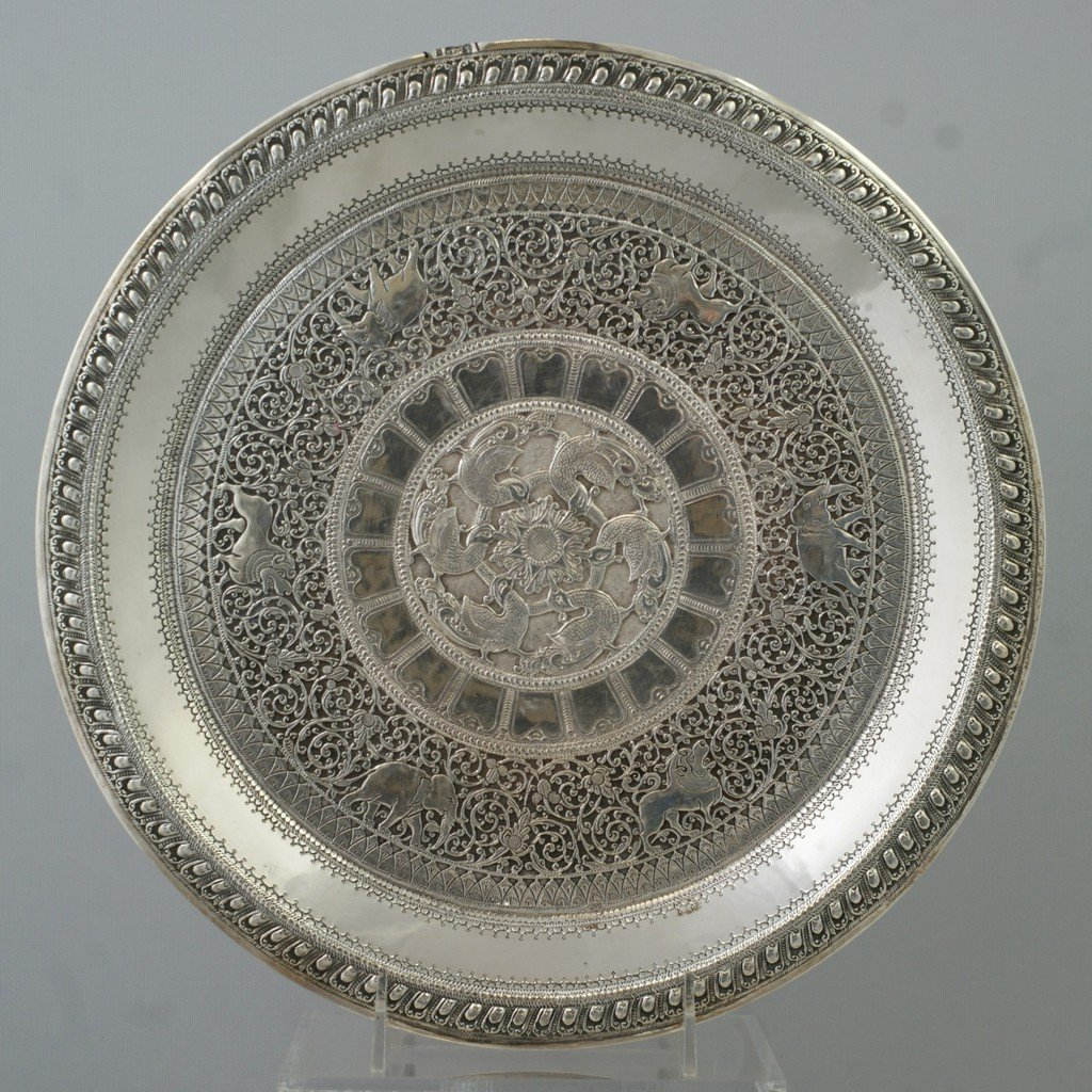 2026: Indian Silver circular tray with mythical bird ce