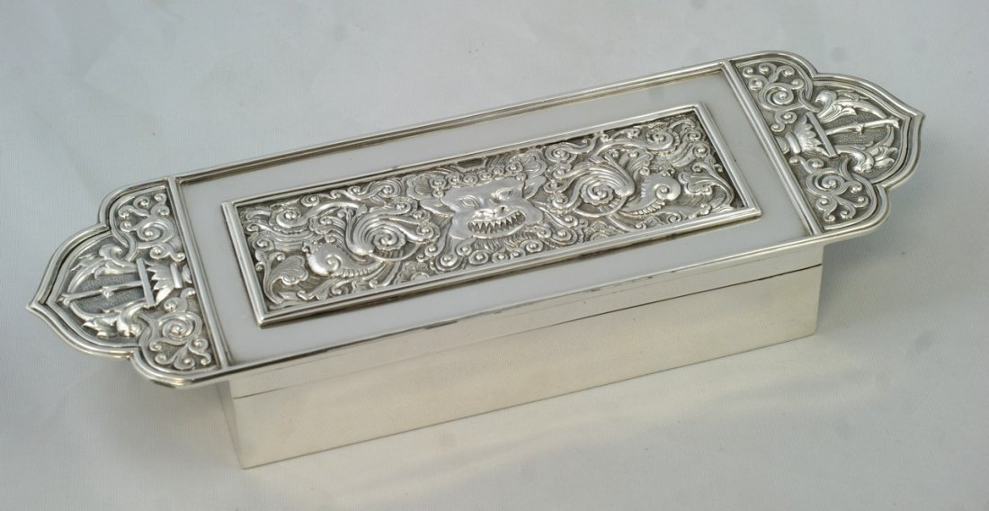 2027: Indian Silver important box with classical mask d