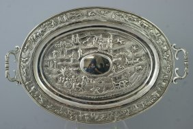 "2028: Indian Silver oval tray ""Cutch"" with village scen"