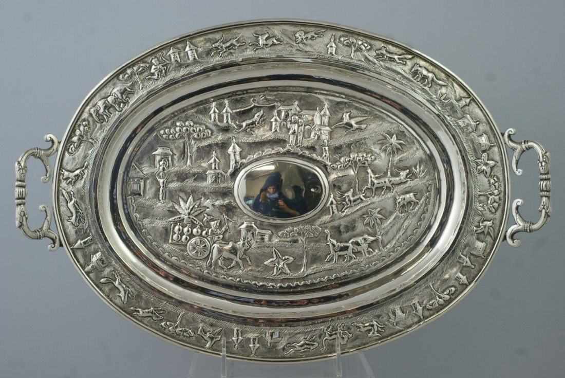 """2028: Indian Silver oval tray """"Cutch"""" with village scen"""