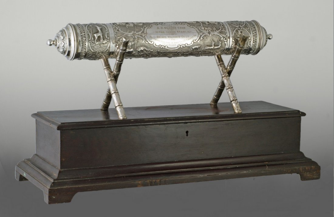 2030: An earlier Indian Silver Scroll Holder with origi