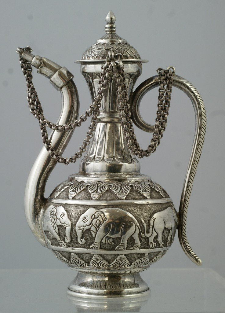 2049: Indian Silver Oil Pot with Elephant border, 9.45