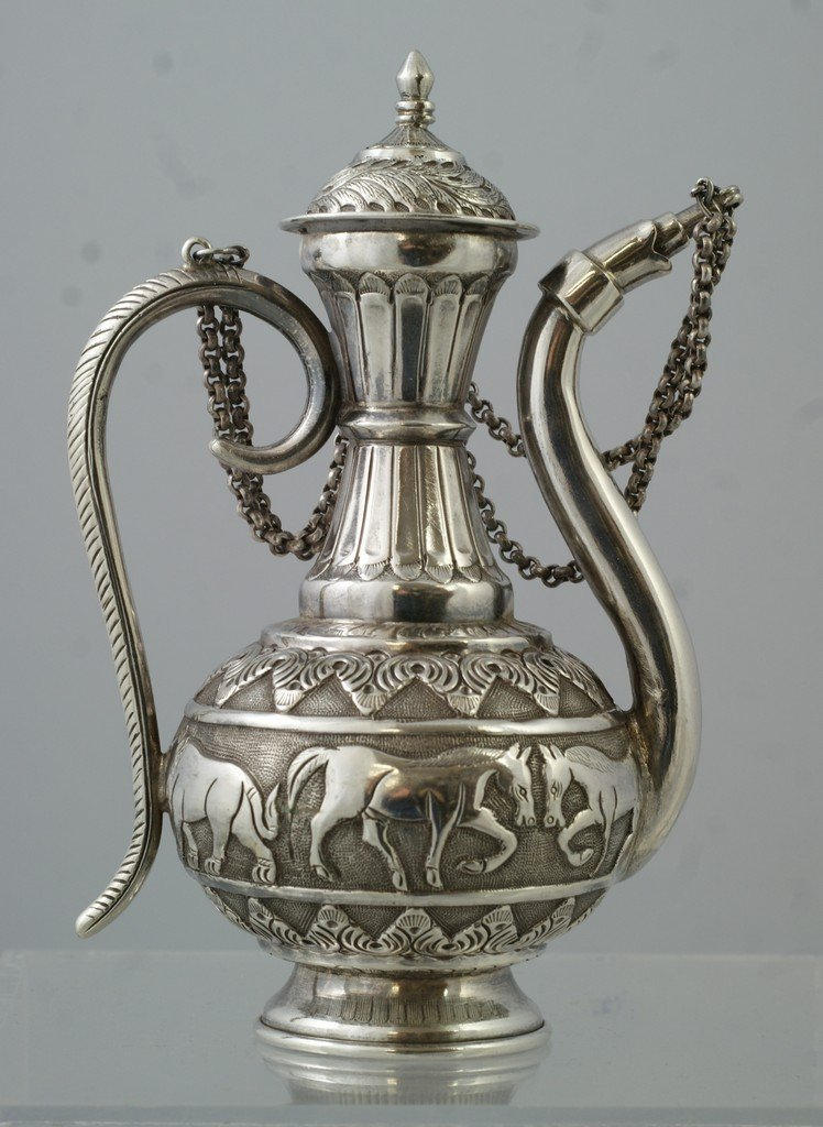 2049: Indian Silver Oil Pot with Elephant border, 9.45  - 2