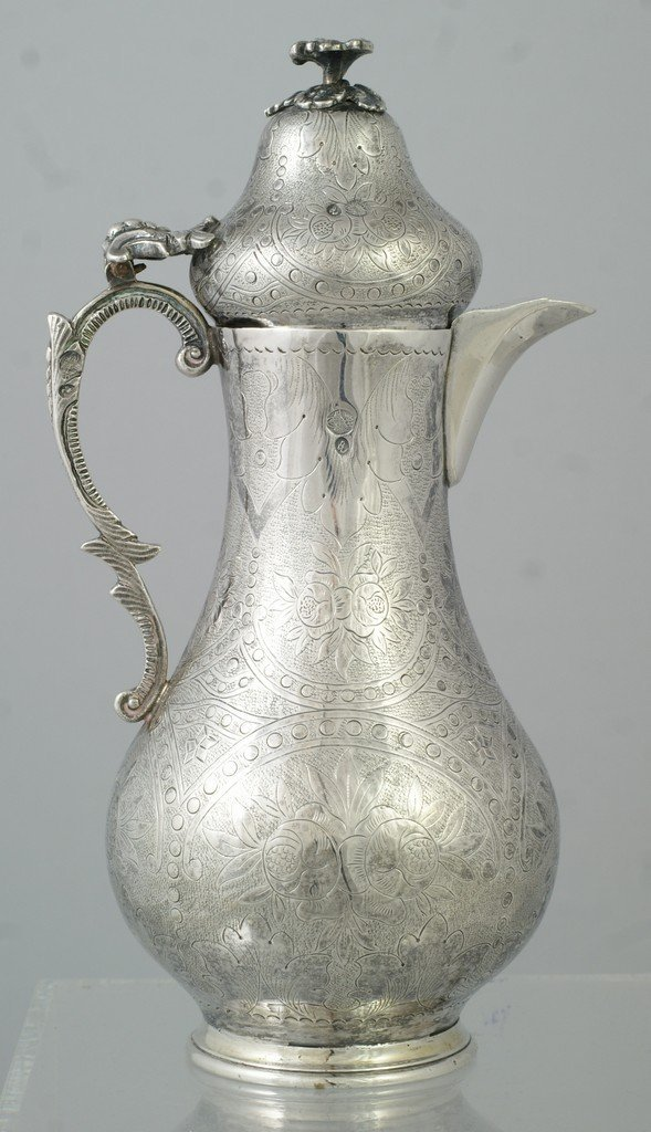 """2064: Turkish Silver Pot, finely engraved, approx 9"""" hi"""