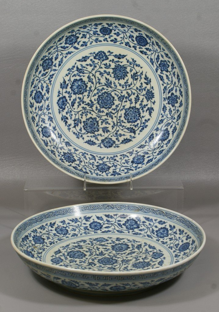 2413: Pr Chinese porcelain shallow bowls with blue flor