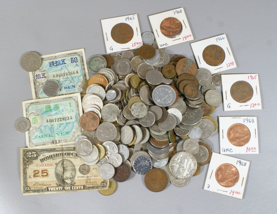 Bag lot of mostly 20th century base metal foreign coins