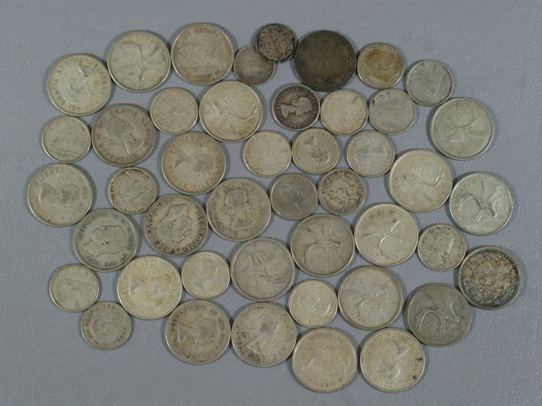$8 and 15 cents face circulated Canadian silver coinage