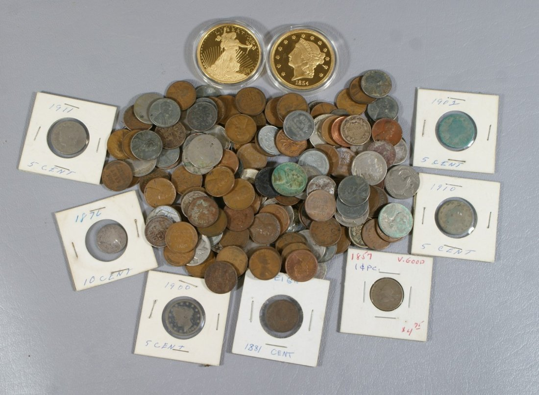 Loose US coinage lot, Indian and Lincoln cents, nickels