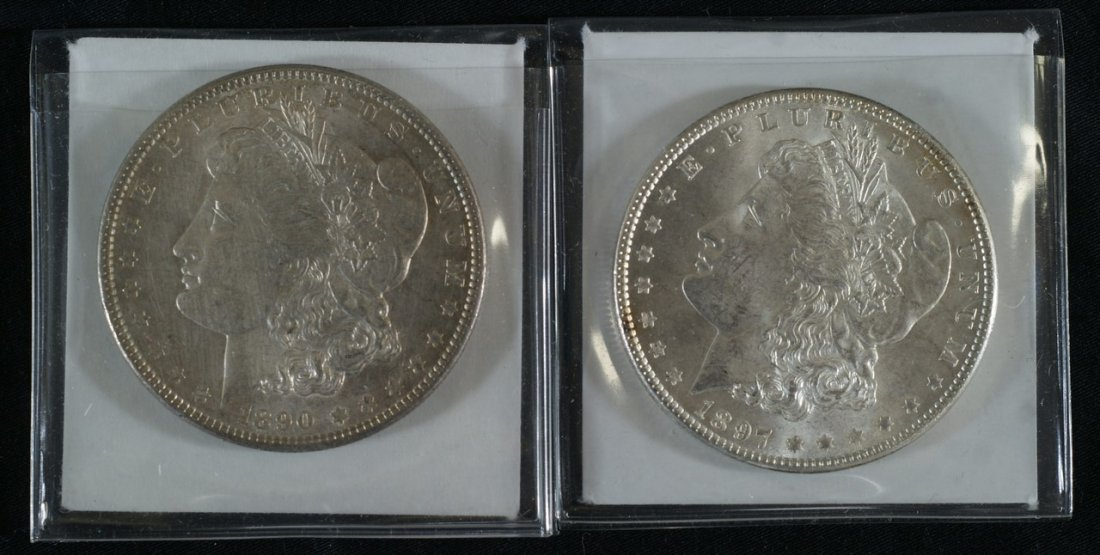 1890 and 1897 Morgan dollars, AU to UNC
