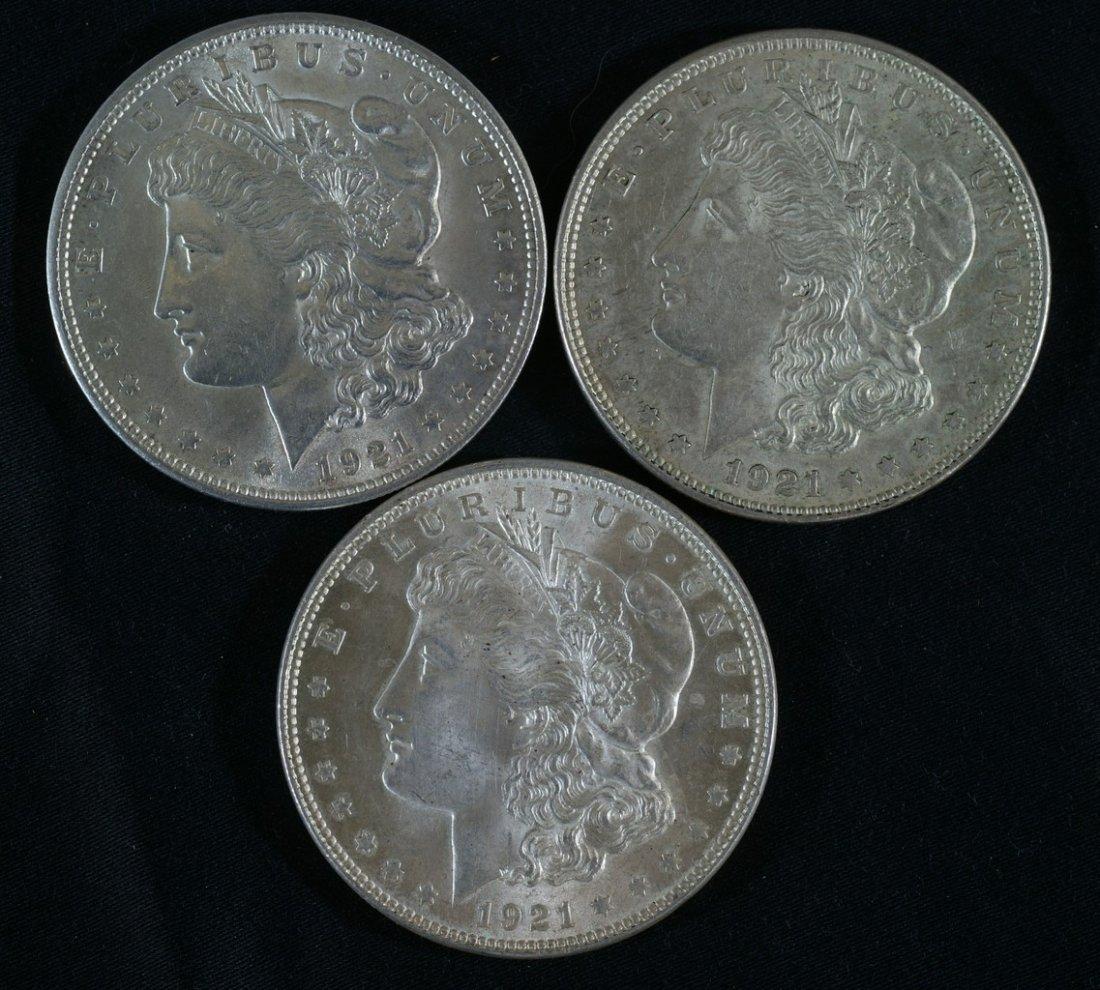 (3) 1921 Morgan dollars EF