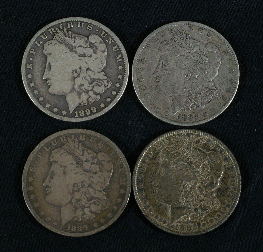 (4) Pre-1904 Morgan dollars, G to VF