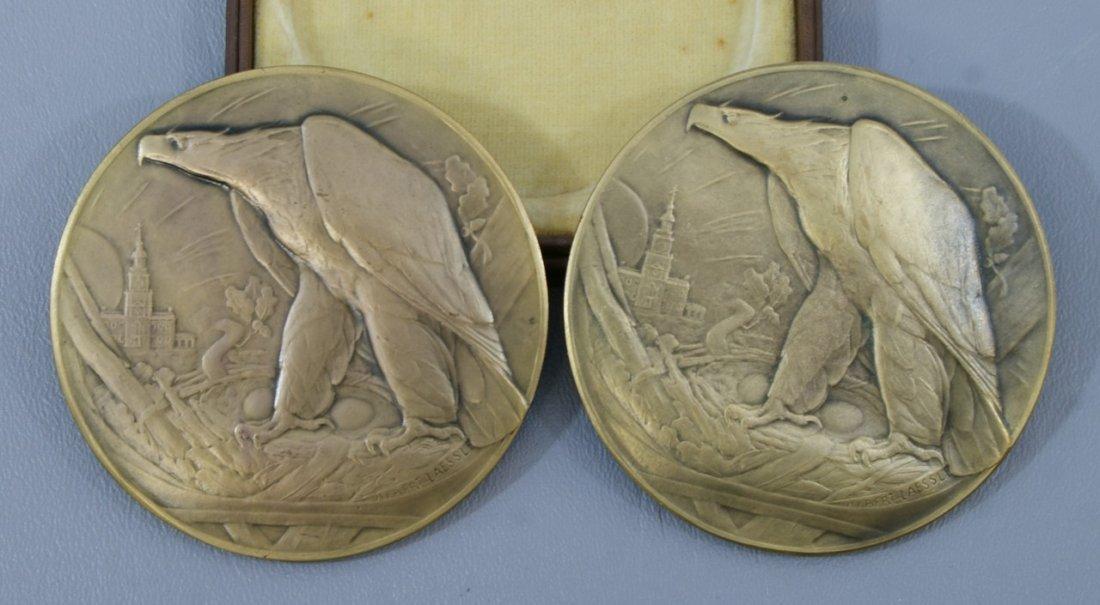 "Lovely pair of 1926 sesquicentennial 3"" bronze general"